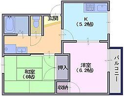 乙木ハイツD[1階]の間取り