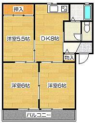 グリーンパルク都府楼B棟[2階]の間取り