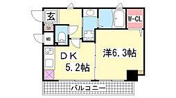 マーレ神戸花隈[504号室]の間取り