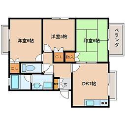 奈良県香芝市真美ケ丘6丁目の賃貸アパートの間取り