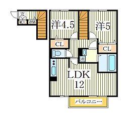 プラシデスB[2階]の間取り