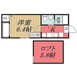 千葉県千葉市中央区白旗1丁目の賃貸アパートの間取り