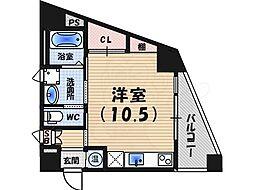 阪急神戸本線 西宮北口駅 徒歩10分の賃貸マンション 4階ワンルームの間取り