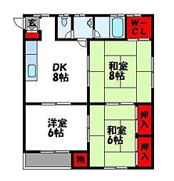 ハウス寺仙[1階]の間取り