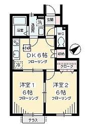 東京都世田谷区桜丘3丁目の賃貸アパートの間取り