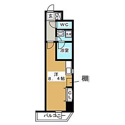 RELUXIA上野 4階ワンルームの間取り
