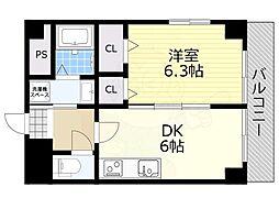 阪急宝塚本線 池田駅 徒歩2分の賃貸マンション 3階1DKの間取り
