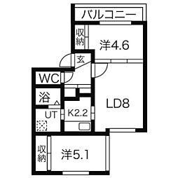 札幌市営南北線 澄川駅 徒歩11分の賃貸マンション 3階2LDKの間取り