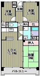 大阪府堺市堺区新在家町西1丁の賃貸マンションの間取り