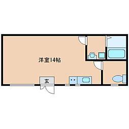 近鉄南大阪線 高田市駅 徒歩3分の賃貸マンション 1階ワンルームの間取り