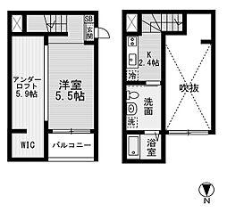 愛知県名古屋市西区天塚町の賃貸アパートの間取り