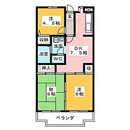 シャルム中郷[4階]の間取り