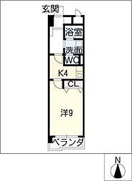 カスティーヌ前津[4階]の間取り