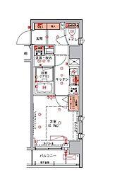ハーモニーレジデンス日本橋イースト 8階1Kの間取り