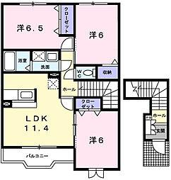 メゾンカルフールA[2階]の間取り