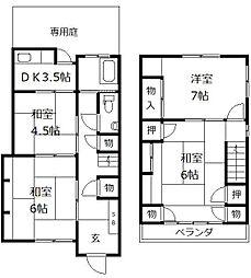 [一戸建] 福岡県福岡市中央区地行3丁目 の賃貸【/】の間取り