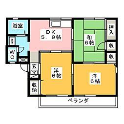 サンワハイツ八千代A[2階]の間取り