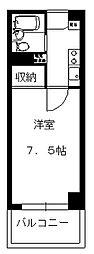 赤塚サカエビル 2階1Kの間取り