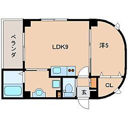 近鉄天理線 天理駅 徒歩4分の賃貸マンション 6階1LDKの間取り