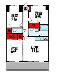 JR鹿児島本線 古賀駅 徒歩15分の賃貸マンション 2階3LDKの間取り