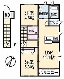 山口県宇部市大字中野開作の賃貸アパートの間取り