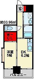 メゾン・ド・プレシューズ 2階1DKの間取り