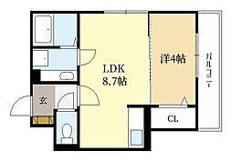 近鉄京都線 三山木駅 徒歩5分の賃貸アパート 3階1LDKの間取り