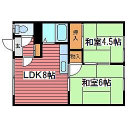 原田荘[2階]の間取り