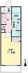 フィシオ神泉 2階1Kの間取り