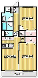 神奈川県川崎市中原区下小田中3丁目の賃貸マンションの間取り