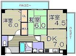 大阪府大阪市西淀川区歌島2丁目の賃貸マンションの間取り