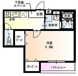 JR関西本線 東部市場前駅 徒歩7分の賃貸アパート 3階1Kの間取り