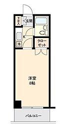 仙台市地下鉄東西線 川内駅 徒歩10分の賃貸マンション 2階1Kの間取り
