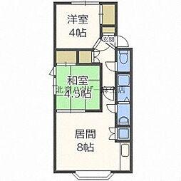 中山 花川北ビル 3階2DKの間取り
