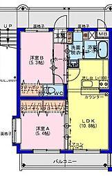 (仮称)川南町マンション 2階2LDKの間取り