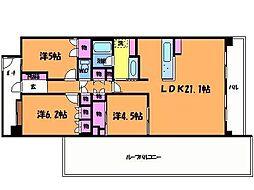 東京都調布市上石原3丁目の賃貸マンションの間取り