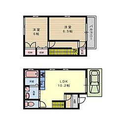 [一戸建] 大阪府高槻市八幡町 の賃貸【/】の間取り