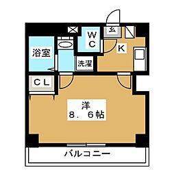 セントハウス横川 2階1Kの間取り