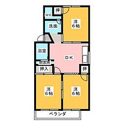 落合ベルコートA棟[1階]の間取り