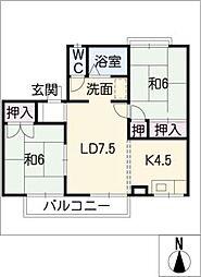 ドゥーライフ西門A棟[2階]の間取り