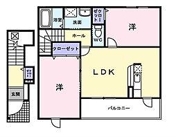 東京都東久留米市下里2丁目の賃貸アパートの間取り
