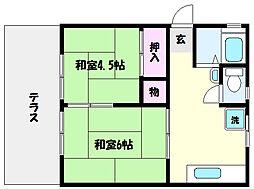 兵庫県神戸市東灘区御影中町7丁目の賃貸アパートの間取り