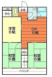松山西ハイツ[706号室]の間取り
