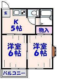 KE5番館[201号室]の間取り