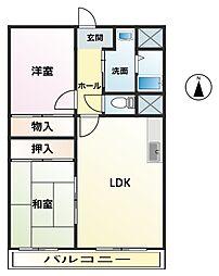 ササヤマ24 3階2LDKの間取り