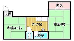 竹宏深江橋マンション 5階1Kの間取り