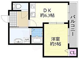 コンフォール姫里3 2階1DKの間取り