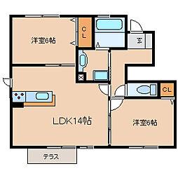 兵庫県尼崎市田能1丁目の賃貸アパートの間取り