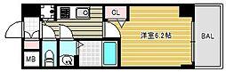 プレサンス北浜パレス 5階1Kの間取り