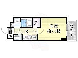 スペーシア江坂南金田 10階1Kの間取り